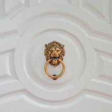 Decorative Door Handle In Form Of Lion Head On White Door. Door Knocker With Lion