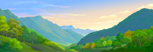 A Detailed Illustration Of The Mountain Landscape With Meadows And Trees.