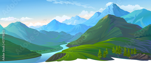 A landscape of a green valley and the blue mountains Poster Mural XXL