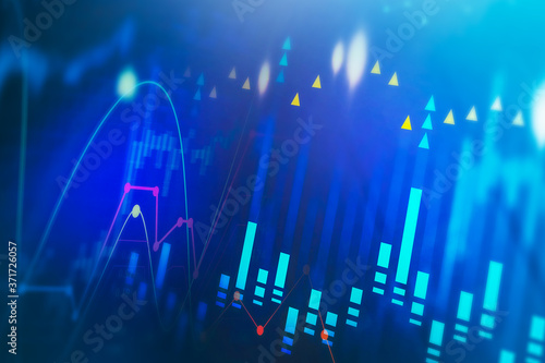 Stock market digital interface, trading Fototapet
