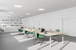 White modern company office with bookcase