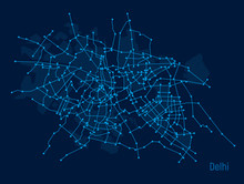 Digital City. Plan Of The City Delhi In The Form Of An Electronic Scheme. Lines On Blue Background. Stylized Line Drawing