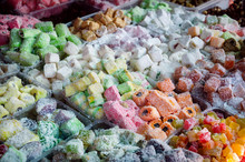 Eastern Sweet Turkish Delight In Coconut Flakes On Market