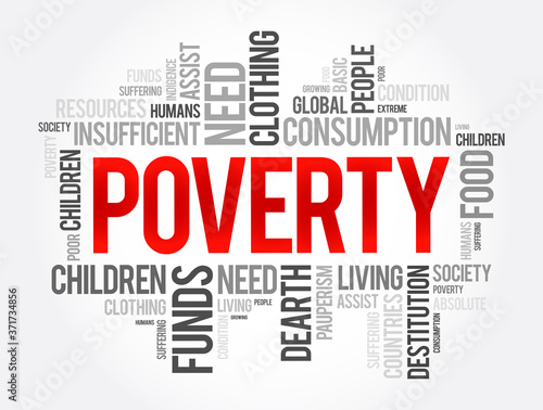 Poverty word cloud collage, social concept background Canvas-taulu