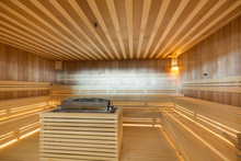 Interior Of A Hot Stone Sauna ...