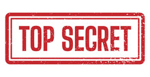 Top Secret Rubber Stamp. For Documents Isolated On White Background. Vector Illustration.