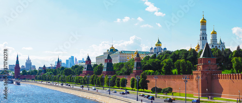 Fotografie, Obraz Panoramic view of the Moscow Kremlin, Moskva river, Business center Moscow city in the background, city center, skyline