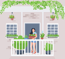 Balcony Home Garden Flat Color Vector Illustration. Woman With Potted Houseplant. Hanging Greenery. Plant Cultivation. Female Gardener 2D Cartoon Character With Exterior On Background