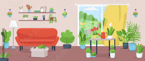 Apartment with plants flat color vector illustration Wallpaper Mural