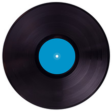 Vinyl 33 Rpm Record With Blue Label. With Clipping Path.