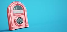 Pink Jukebox On A Blue Backgro...