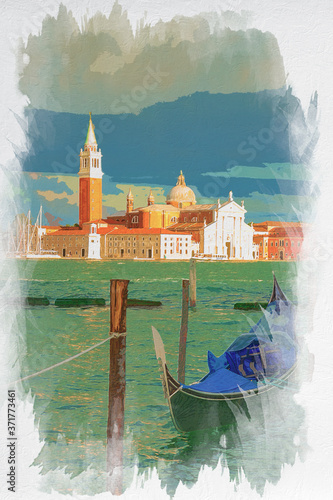 Fototapeta Gondolas and Church of San Giorgio Maggiore, Venice, watercolor painting