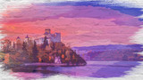 Niedzica castle by lake at sunset, watercolor painting