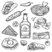 Mexican Food. Sketch Mexican N...
