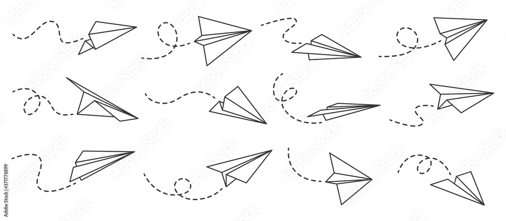 Fototapeta Paper airplane. Outline flying planes from different angles and direction with dotted track, travel or message symbols, linear vector set. Curved route with aircraft for mail delivery