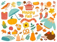 Autumn Set. Cartoon Yellow Plants, Food And Forest Animals, Harvest Festival And Thanksgiving Day Attributes For Card, Poster Vector Set As Warm Clothing, Mushrooms And Leaves. Happy Fall