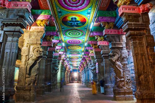 Obraz na plátně Thousand pillar hall, Meenakshi Temple