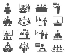 Conference, Meeting Icons Set Isolated On White. Business Training, Seminar.