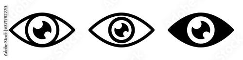 Set eye icons, retina scan eye icons, vision sign, simple eyes silhouette collec Fotobehang