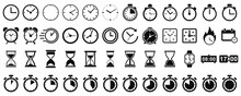 Set Hourglass Icons, Sandglass Timer, Clock Flat Icon, Time Management – Vector