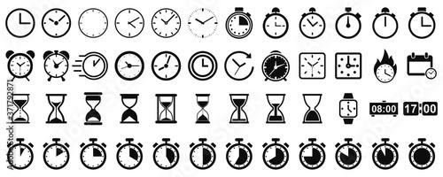 Fotografija Set hourglass icons, sandglass timer, clock flat icon, time management – vector