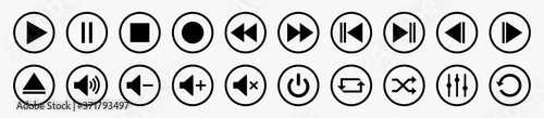 Media player control icon set, multimedia symbols and audio – stock vector Fototapeta