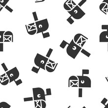 Mailbox Icon In Flat Style. Postbox Vector Illustration On White Isolated Background. Email Envelope Seamless Pattern Business Concept.