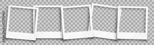 Group empty white photo frame with shadows - stock vector