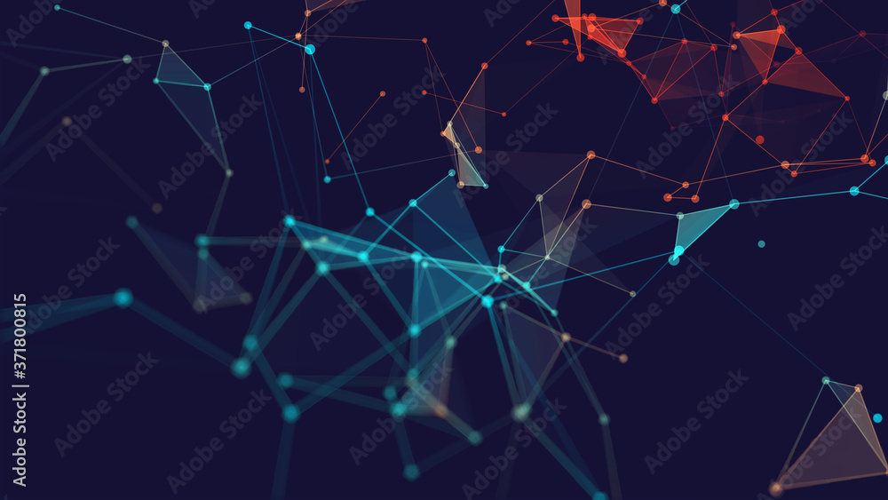 Fototapeta Abstract polygonal space low poly dark background with connecting dots and lines.