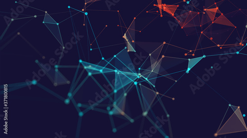 Abstract polygonal space low poly dark background with connecting dots and lines Fotobehang