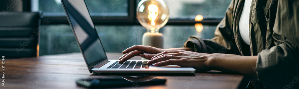 Fototapeta Young woman working with a laptop. Female freelancer connecting to internet via computer. Businesswoman at work