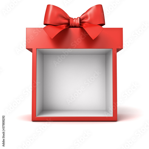 Blank display present box showcase or gift box mock up isolated on white background with shadow 3D rendering © masterzphotofo