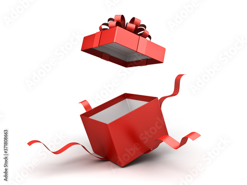 Fototapeta Open red gift box or present box with red ribbon bow isolated on white background with shadow 3D rendering obraz