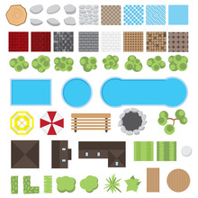 Collection Of Landscape Design Elements Vector Illustration. Landscape Elements Set. House, Trees, Bushes, Paths And Pools. View From Above.