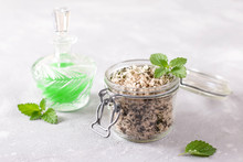 Homemade Sugar Scrub With Chopped Mint Leaves And Essential Mint