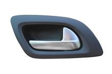 Inside Metallic Car Door Handle. Vehicle Indoor Handle Isolated On White