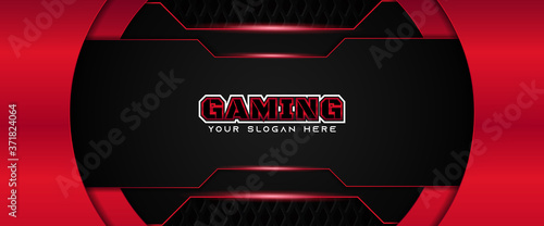 Leinwand Poster Futuristic red and black abstract gaming banner design with metal technology concept