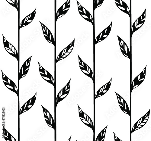 Tapeta czarno biała  seamless-pattern-with-black-and-white-leaves-on-a-white-background