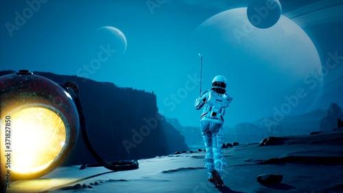 An astronaut explorer is playing Golf on a beautiful alien planet Slika na platnu