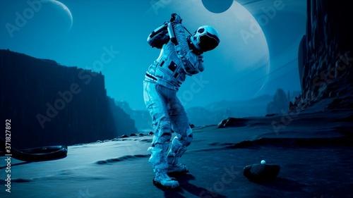 Fotografie, Obraz An astronaut explorer is playing Golf on a beautiful alien planet