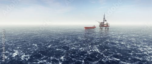 Fotografering Offshore drilling rig on the sea. Oil platform