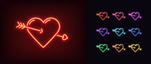 Neon Heart Icon. Glowing Neon Heart Sign With Cupid Arrow, Amour Shape