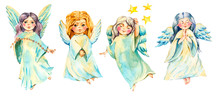 Set Of Watercolor Angel With W...
