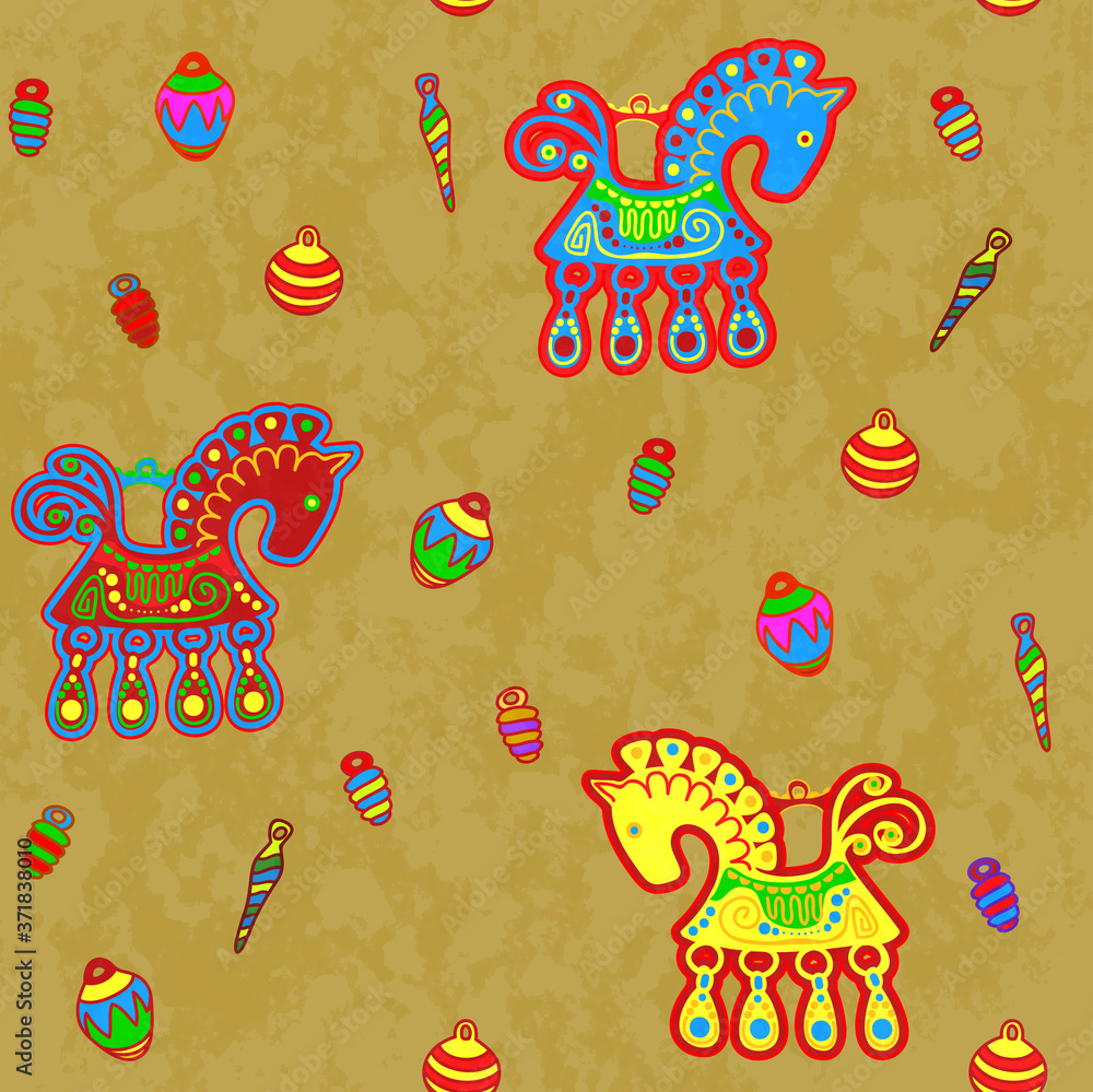 Horse and toys, folk art stylization, repeating pattern.
