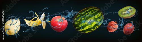 Panorama with fruits - juicy, kiwi, watermelon, pear, banana, lychee, plum, appl Poster Mural XXL