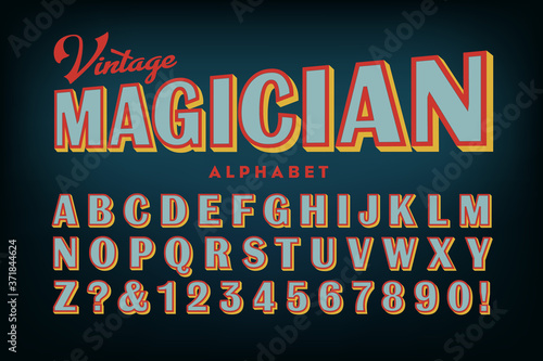 Obraz na plátně Vintage Magician Alphabet; A Late Victorian Era Sans Serif Style, As Seen on Old Sho0w Posters from Around the Turn of the 20th Century