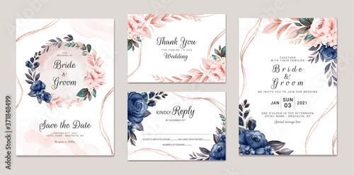 Floral wedding invitation template set with navy and peach watercolor roses and leaves decoration Wallpaper Mural