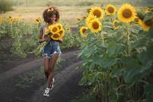 Happy Young Black Woman Walks ...