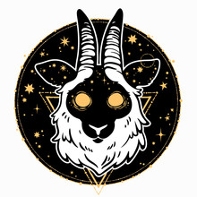 Head Of A Mystical Animal With Cosmic Motives