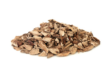 Calamus herb root used in herbal medicine to treat ulcers, upset stomach and inflammation, diarrhea, flatulence and has many other health benefits, on white background. Acorus calamus.